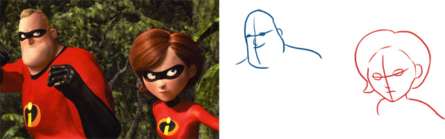 Analyse des visages de Mr Indestructible et Elastigirl